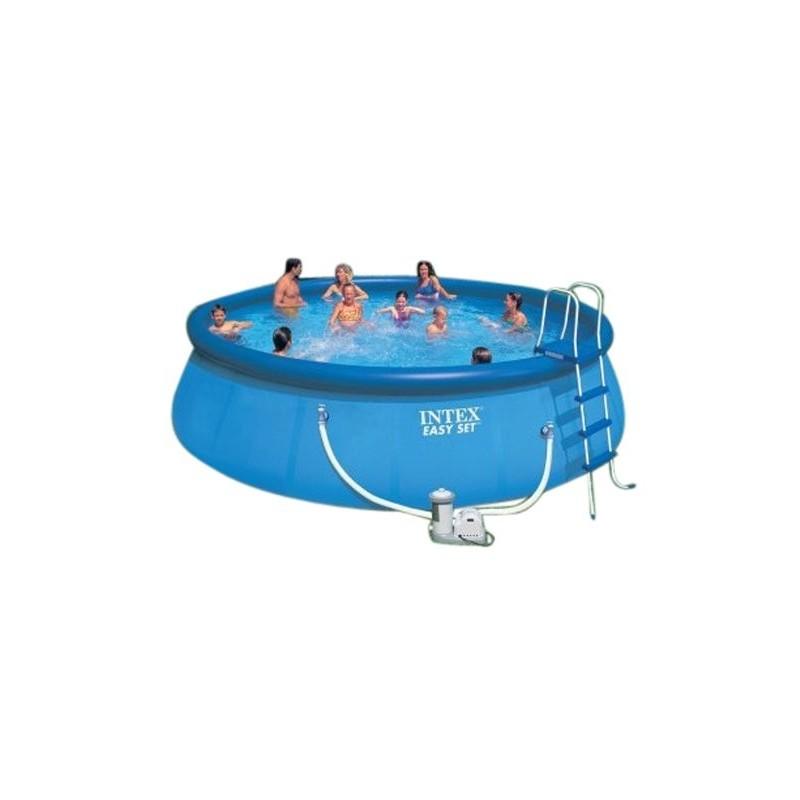 Intex easy set pool 457 x 122 cm opblaas easyset pool for Zwembad rechthoekig met pomp