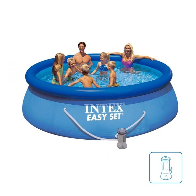 intex easy set pool 366 x 76 cm opblaas easyset pool. Black Bedroom Furniture Sets. Home Design Ideas