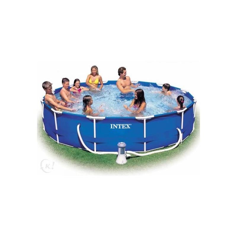 Zwembad Met Pomp.Intex Metal Frame Pool Rond 305 X 76 Cm Zwembaden Frame Pools Zwembaden